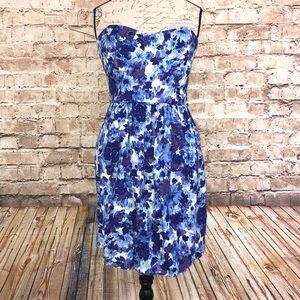 Shoshanna Blue Floral Inkblot Strapless Dress Sz 8